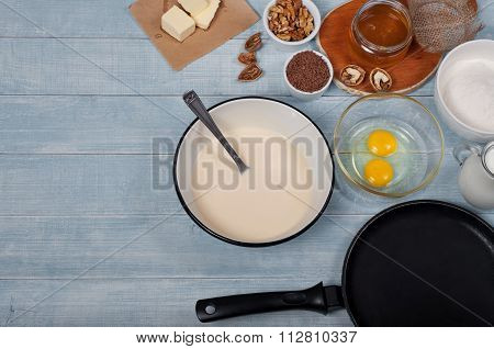 Ingredients For Making The Dough For Pancakes