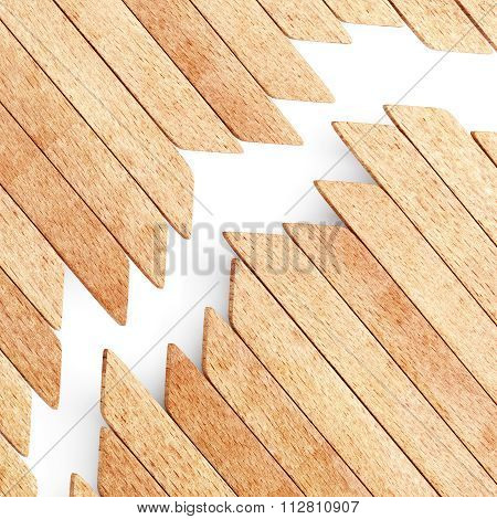 Wood planks on white background background