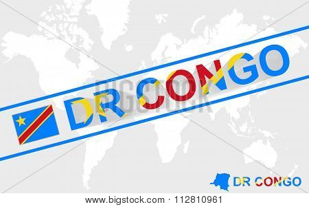 Dr Congo Map Flag And Text Illustration