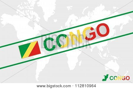 Congo Map Flag And Text Illustration
