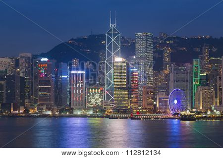 Hong Kong city waterfront at night
