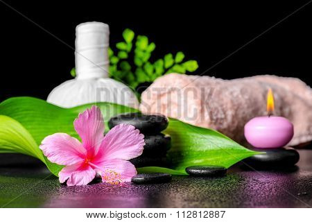 Beautiful Spa Concept Of Pink Hibiscus Flower, Leaves, Thai Herbal Compress Ball, Towel, Candle And