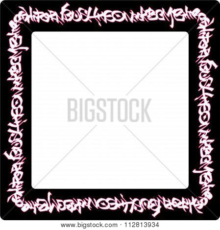 Square Rounded Frame Pink Neon Graffiti Tags On Black