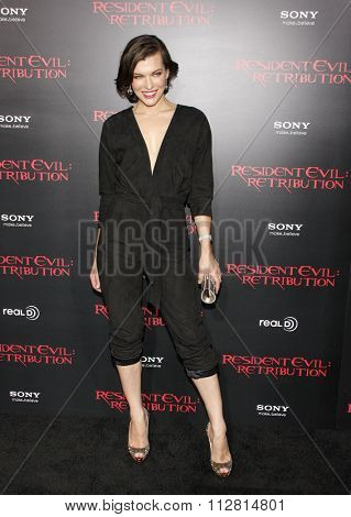 LOS ANGELES, CALIFORNIA - September 12, 2012. Milla Jovovich at the Los Angeles premiere of 'Resident Evil: Retribution' held at the Regal Cinemas L.A. Live, Los Angeles.