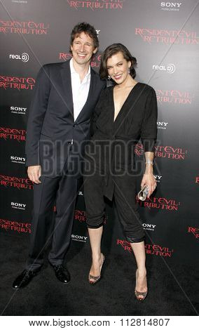 Milla Jovovich and Paul W.S. Anderson at the Los Angeles premiere of