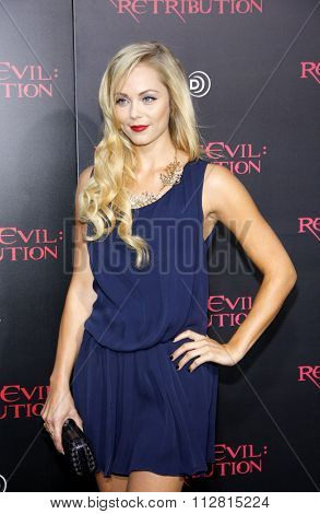 Laura Vandervoort at the Los Angeles premiere of 'Resident Evil: Retribution' held at the Regal Cinemas L.A. Live, Los Angeles on September 12, 2012.