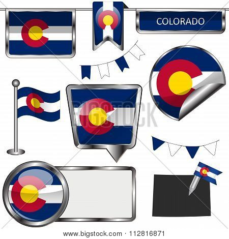 Glossy Icons With Flag Of State Colorado