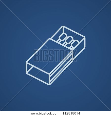 Matchbox line icon for web, mobile and infographics. Vector light blue icon isolated on blue background.