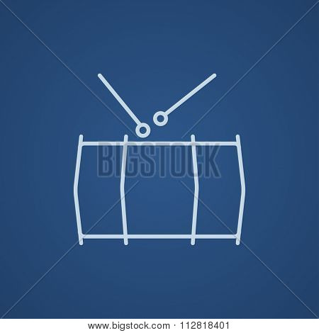 Drum with sticks line icon for web, mobile and infographics. Vector light blue icon isolated on blue background.