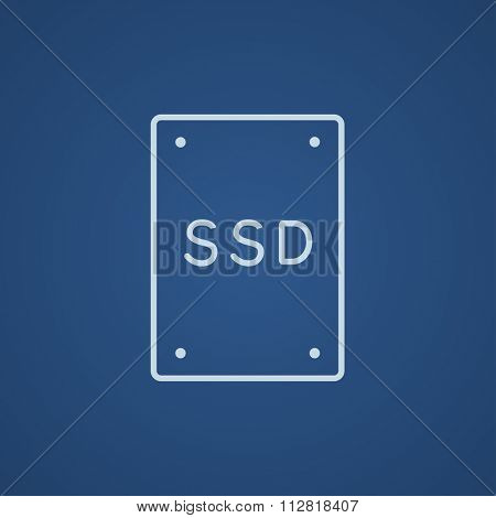 Solid state drive line icon for web, mobile and infographics. Vector light blue icon isolated on blue background.