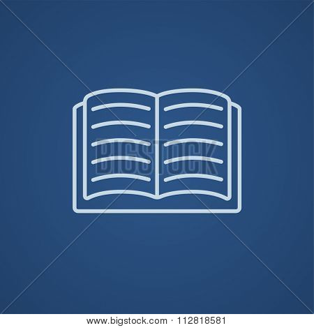 Open book line icon for web, mobile and infographics. Vector light blue icon isolated on blue background.