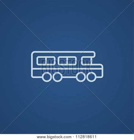 School bus line icon for web, mobile and infographics. Vector light blue icon isolated on blue background.