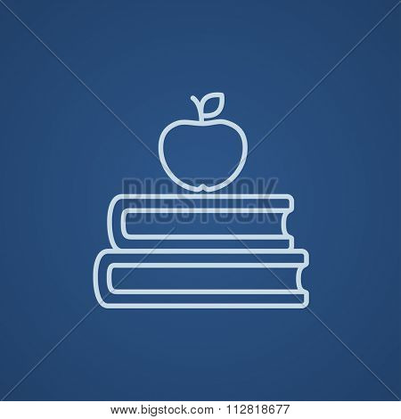 Books and apple on the top line icon for web, mobile and infographics. Vector light blue icon isolated on blue background.