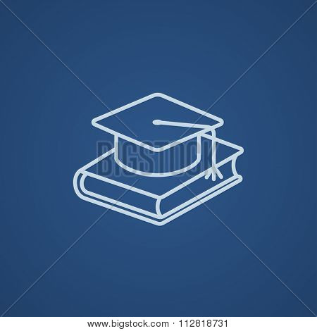 Graduation cap laying on book line icon for web, mobile and infographics. Vector light blue icon isolated on blue background.