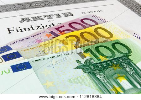 Share with fanned out Euro banknotes