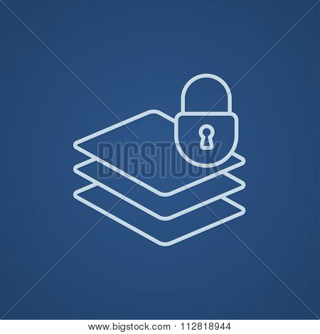 Stack of papers with lock line icon for web, mobile and infographics. Vector light blue icon isolated on blue background.