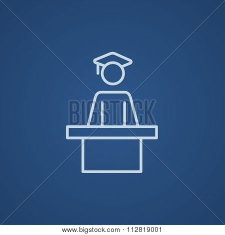 Graduate standing near tribune line icon for web, mobile and infographics. Vector light blue icon isolated on blue background.