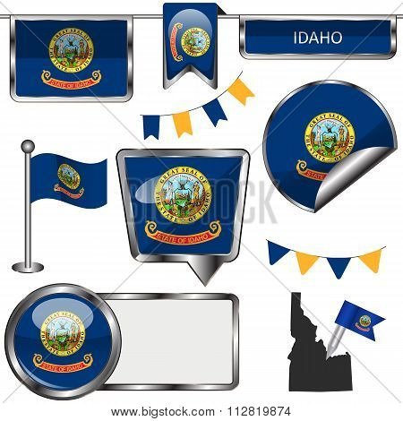 Glossy Icons With Flag Of State Idaho