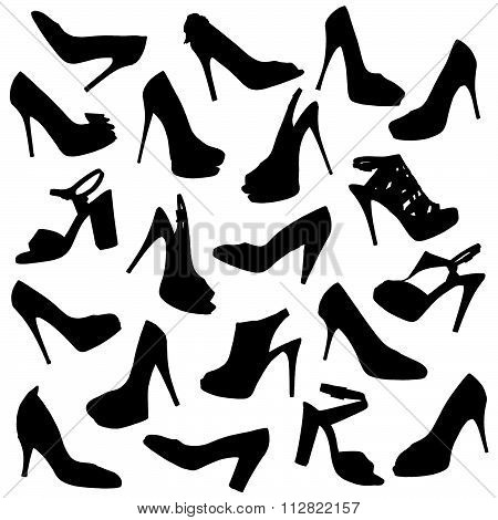 Black Female Shoes Silhouettes