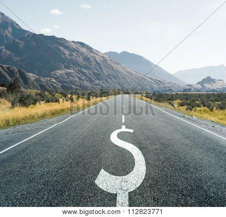 Dollar symbol on endless asphalt road as symbol of financial stability