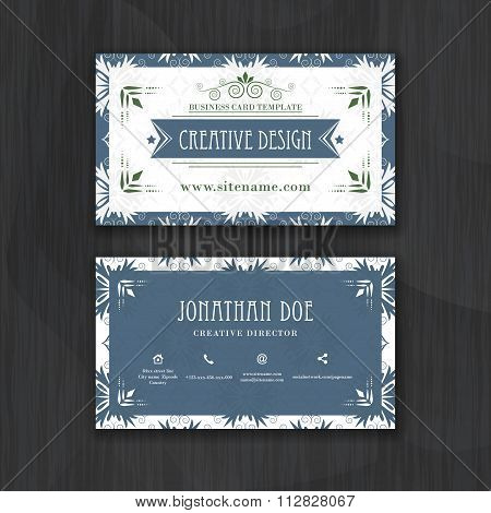 Floral horizontal business card template.