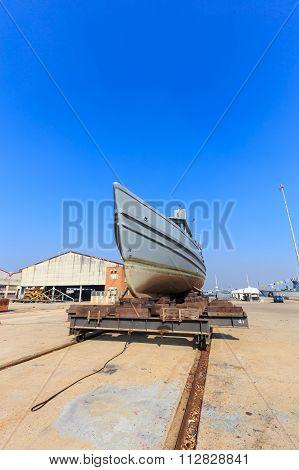 Military Boat On Synchrolift