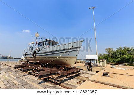 Military Boat On Synchrolift For Repairing