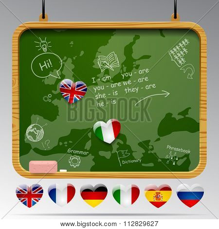 Blackboard with map of Europe, state flag signs in hearts of european languages and hand drawn education icons. Language learning concept design with map of Europa. Vector illustration