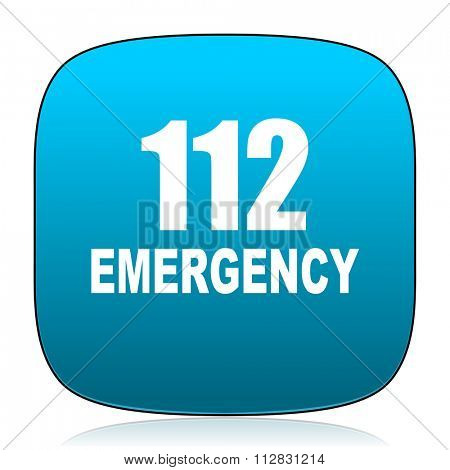 number emergency 112 blue icon