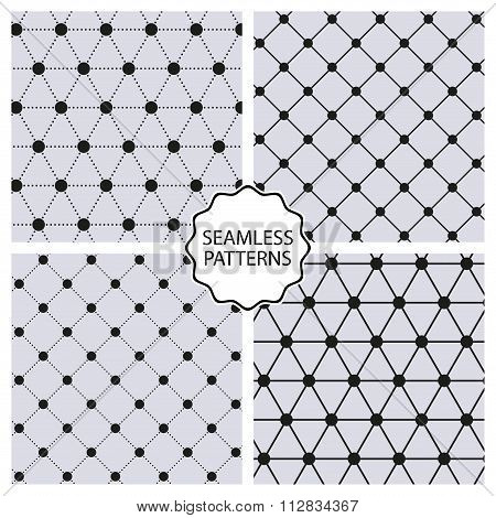Stock Vector Set seamless line patterns