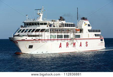 LANZAROTE, SPAIN - SEPTEMBER 9 2015: Canary Island Ferry Sails from Playa Blanca Lanzarote and Corralejo Fuerteventura