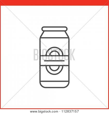 Can of beer or other beverage. Simple outlined vector of alcohol bottle. Linear style