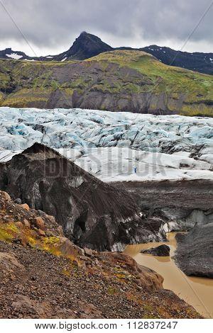 The southern part of the huge glacier Vatnajokull. Skaftafell National Park