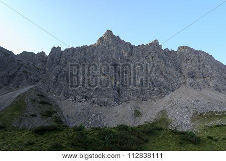 Northern face of the mountain Lachenspitze in the Alps
