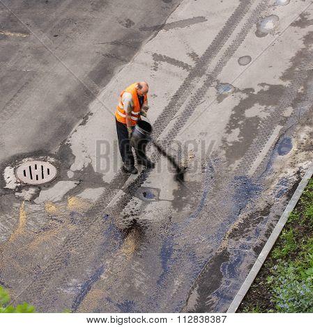 Rabo Watering Bitumen Road.