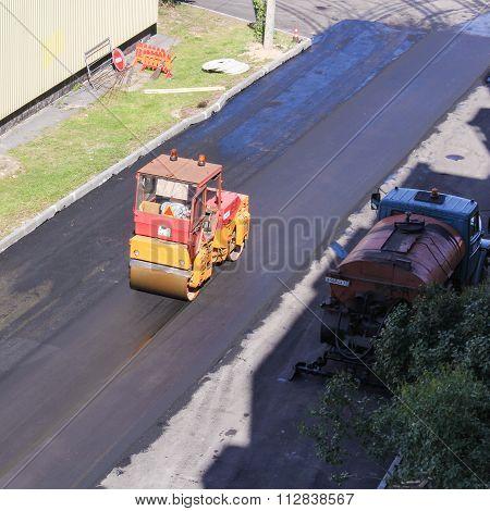 Road Construction Compacted Asphalt.