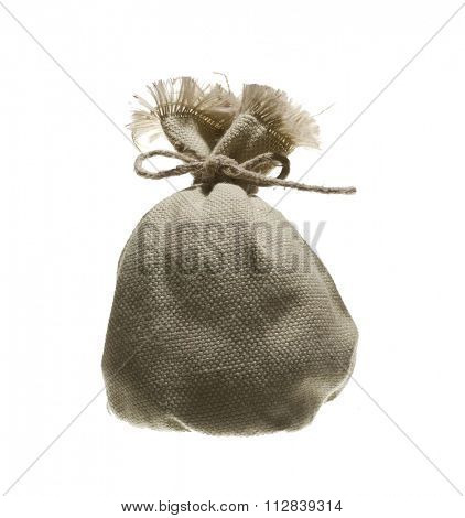 small bag jute isolated on white background