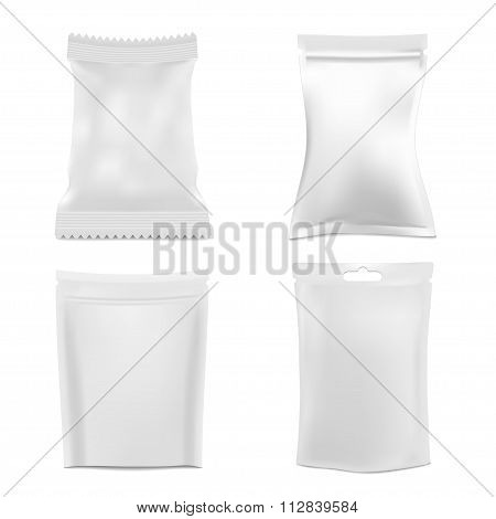 Set of White Foil Packaging