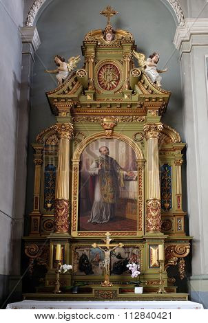 ZAGREB, CROATIA - MAY 28: Saint Ignatius of Loyola, altar in the Basilica of the Sacred Heart of Jesus in Zagreb, Croatia on May 28, 2015