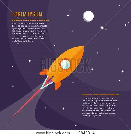 Space rocket flying in space with moon and stars. Vector