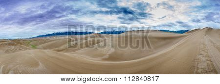 Sweeping Valley Of Sand Dunes Panorama