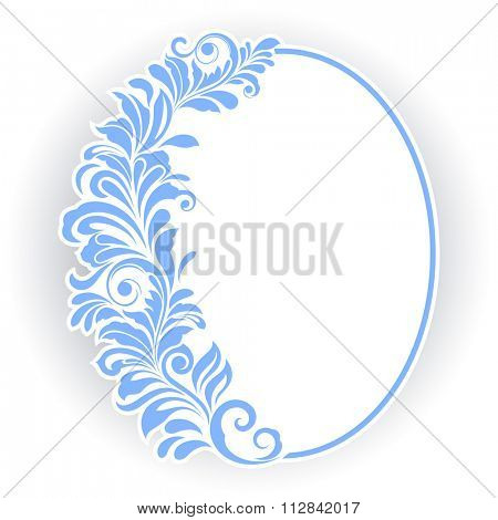 Vintage oval frame with blue floral ornament.