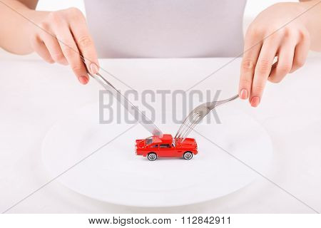 Woman with dinnerware and car model.