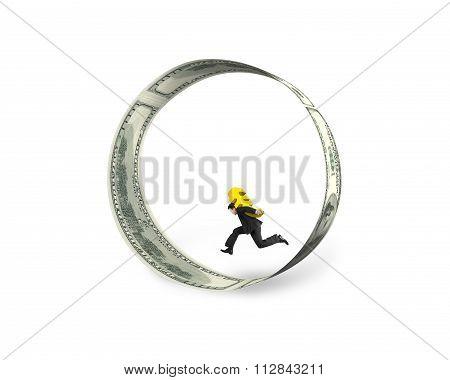 Businessman Carrying Euro Sign Running In Circle Of Dollar Bills