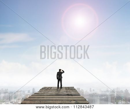 Rear View Man Standing Gazing On Wooden Bridge