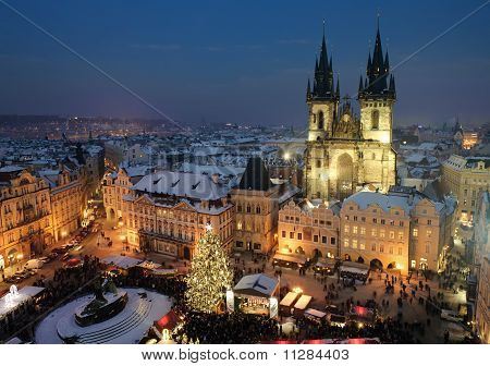Old town square in Prague at Christmas time