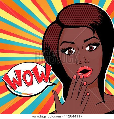 Vector Illustration - Pop Art Woman Wow Sign. Surprised African American Woman Face With Open Mouth