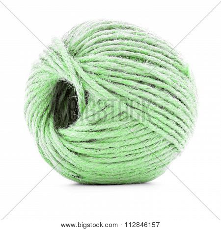 Green traditional clew, knitting yarn roll isolated on white background