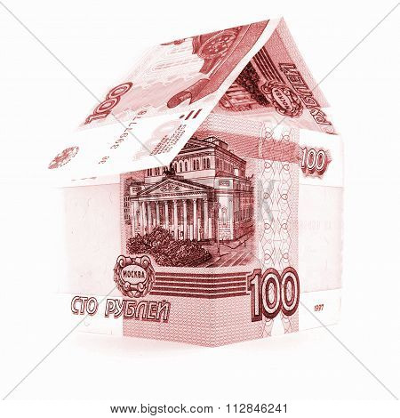 Russian money ruble denomination, rouble banknote housing isolated, white background