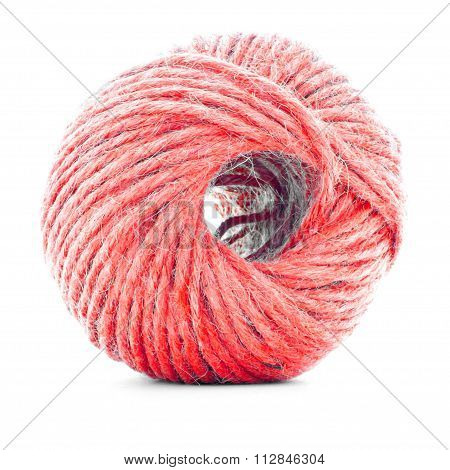 Red fiber clew, knitting yarn roll isolated on white background